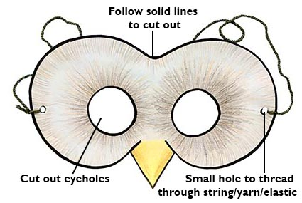 diagram showing how to make owl mask