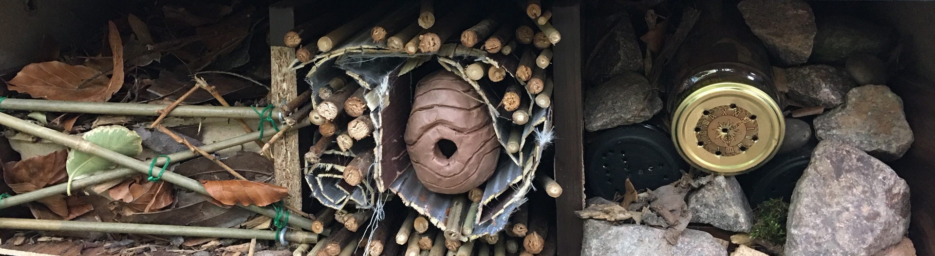 Insect hotel with three sections