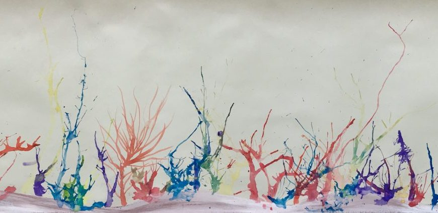 Coral reef collab painting. University Museum of Zoology, copyright University of Cambridge