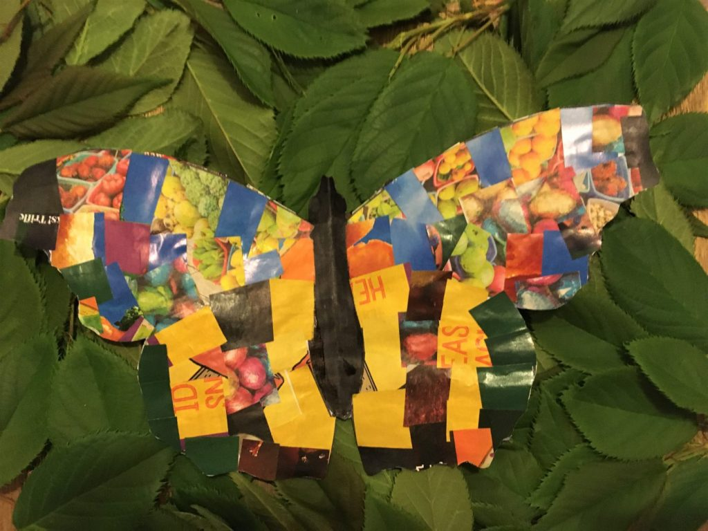 bright collaged butterfly craft