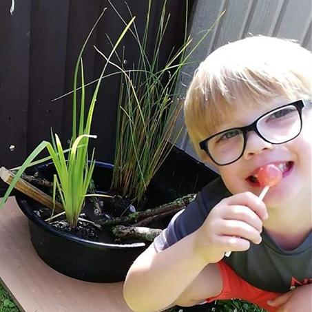 Elijah's (age 5) Mini-pond creation.