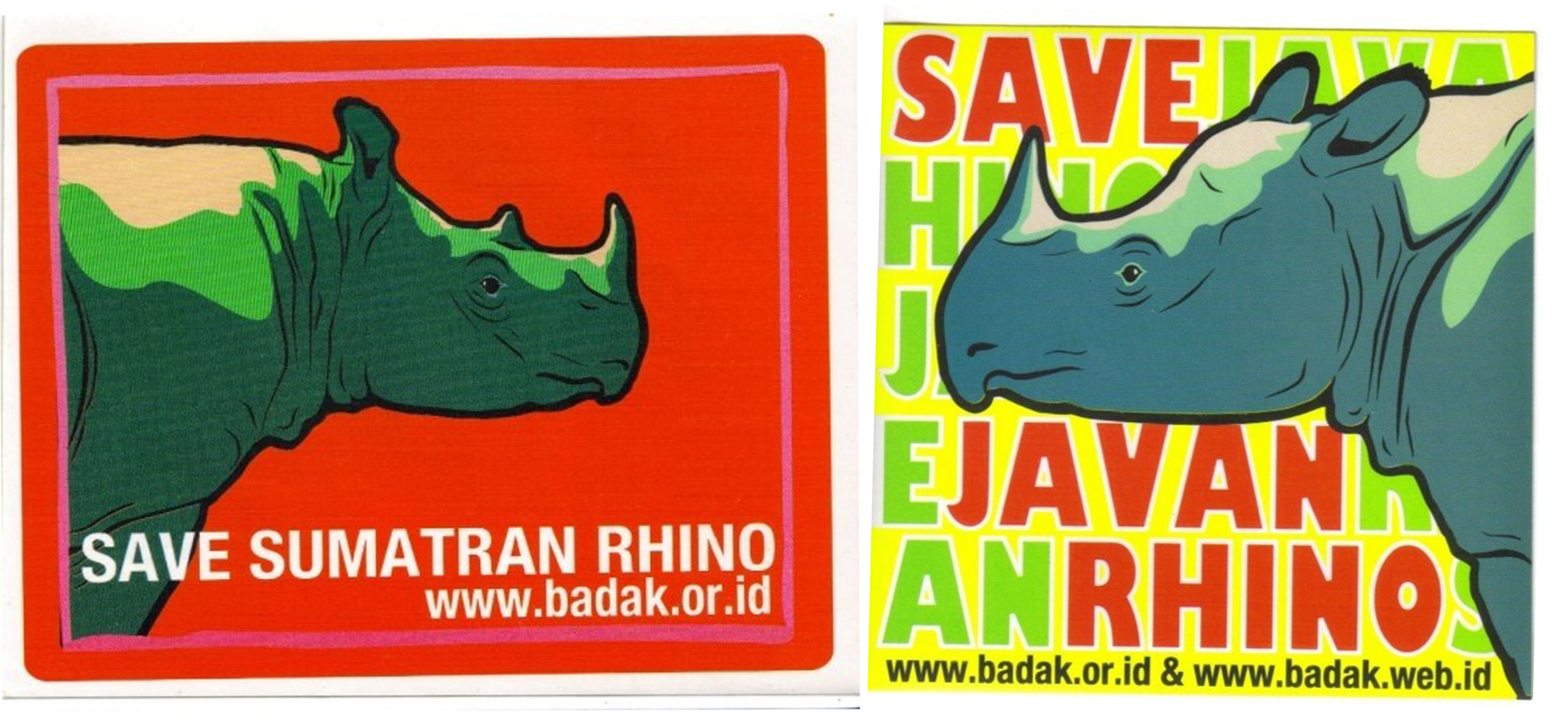 Stickers produced by Yayasan Badak Indonesia (the Rhino Foundation of Indonesia) around 2005 promoting the conservation of the Sumatran rhino and the Javan rhino. Images from the Rhino Resource Centre