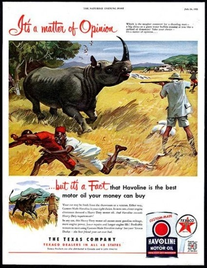 Texaco advertisement produced in 1952 specifically targeted at big game hunters. Image from the Rhino Resource Center