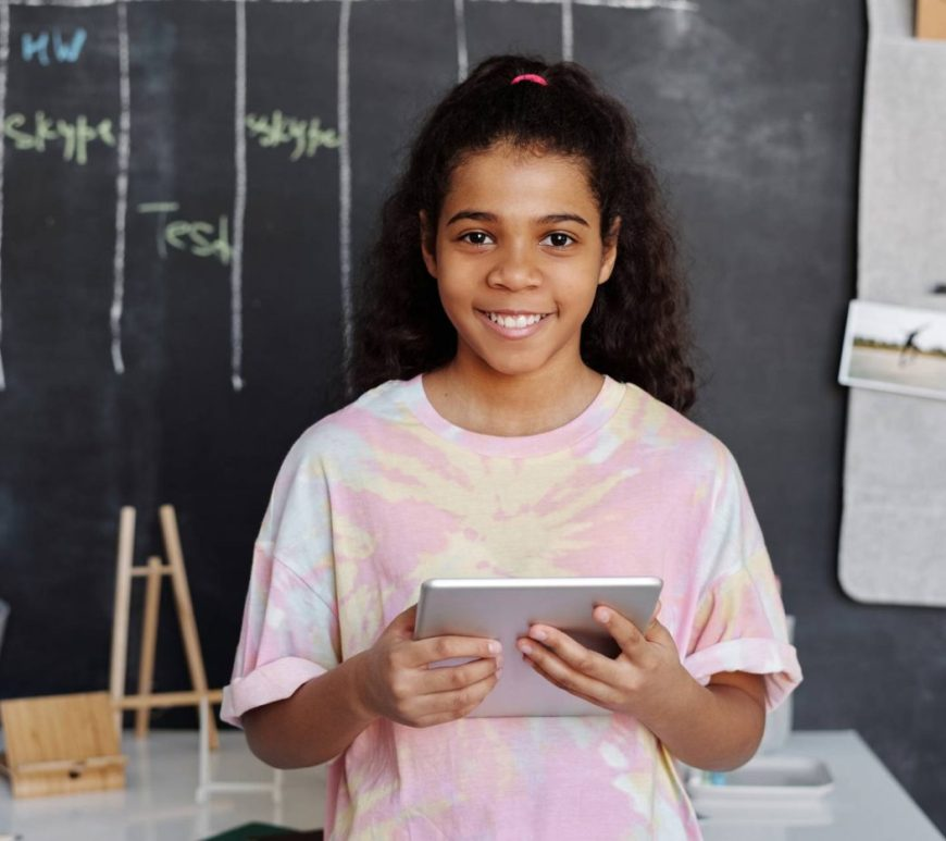 Girl in classroom with