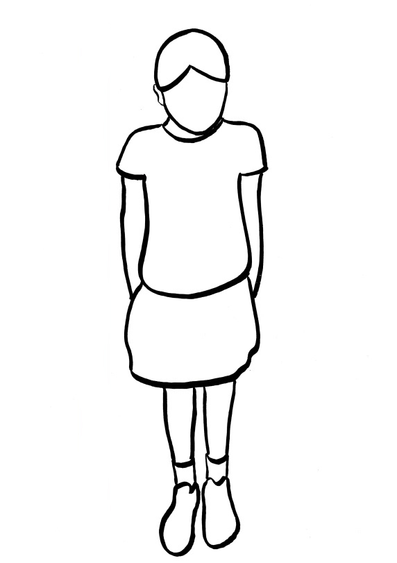 Outline sketch of a child