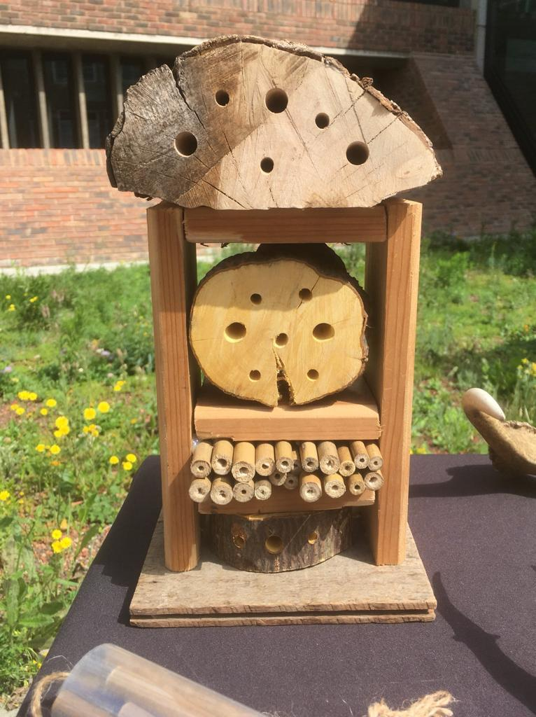 Insect refuge made of a wooden frame with bamboo in one section and logs with holes in them for other sections