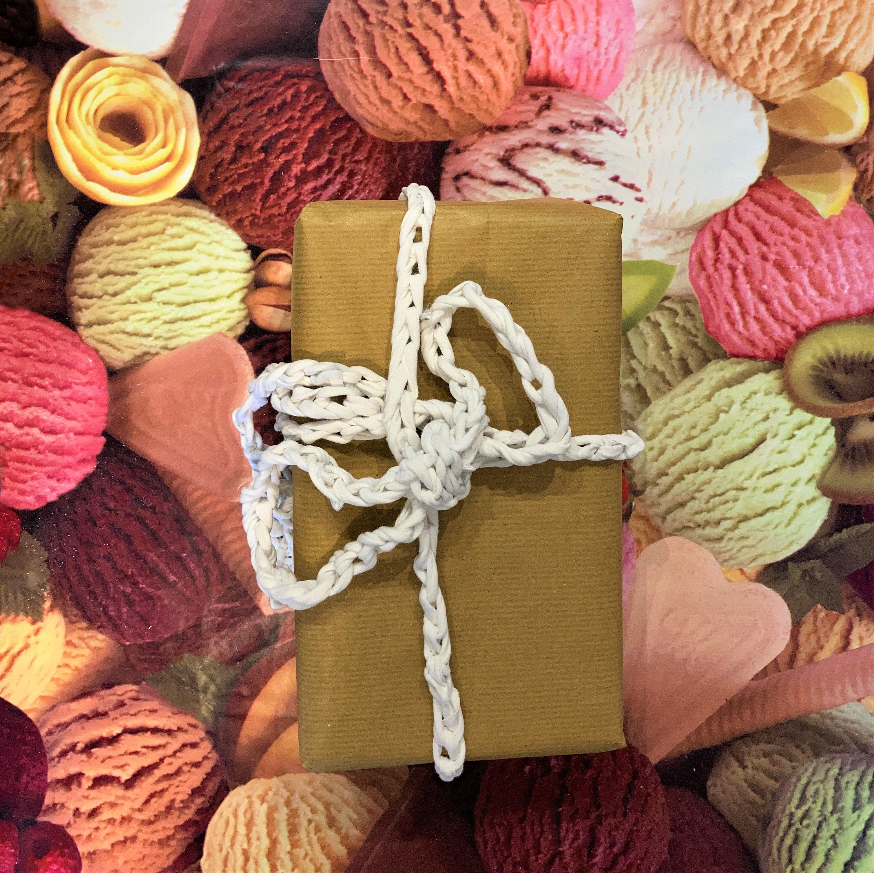 Parcel wrapped with crochet chain