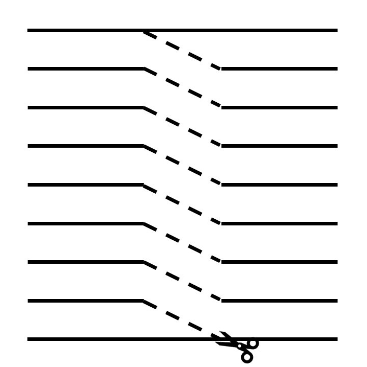 Diagram showing direction of cuts needed to make t-shirt yarn