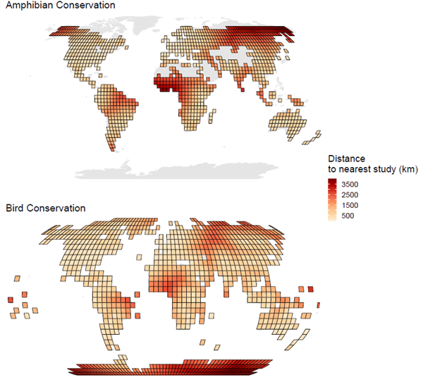 Maps showing distance to the nearest study from 1000 points spread across the world.