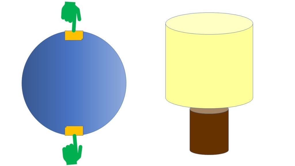 Sphere next to lamp with a vertical axis from north to south pole