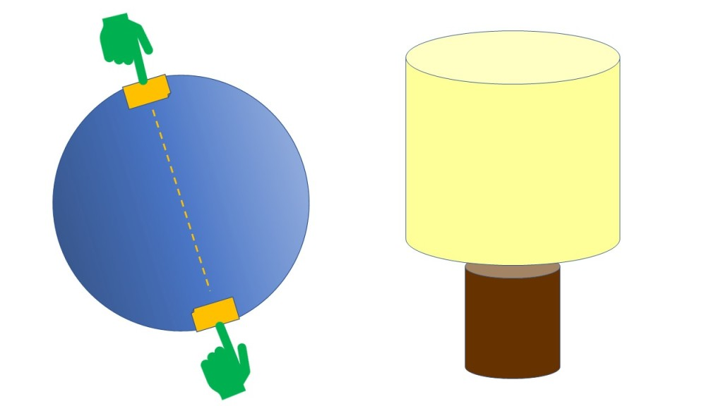 Sphere with axis between north and south poles at an angle