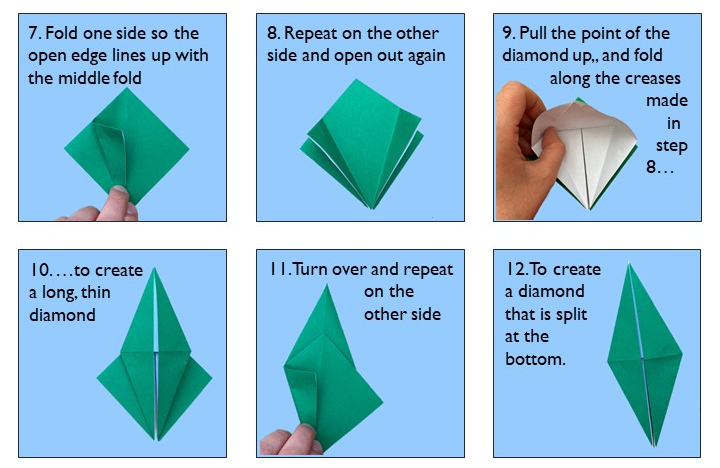 Instructions for origami bird steps 7-12