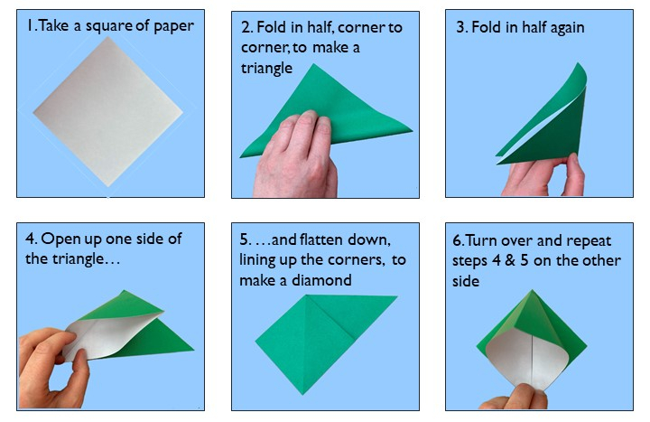 Instructions for origami bird steps 1-6