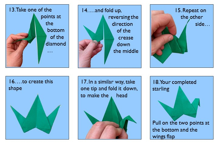 Instructions for origami bird steps 13-18