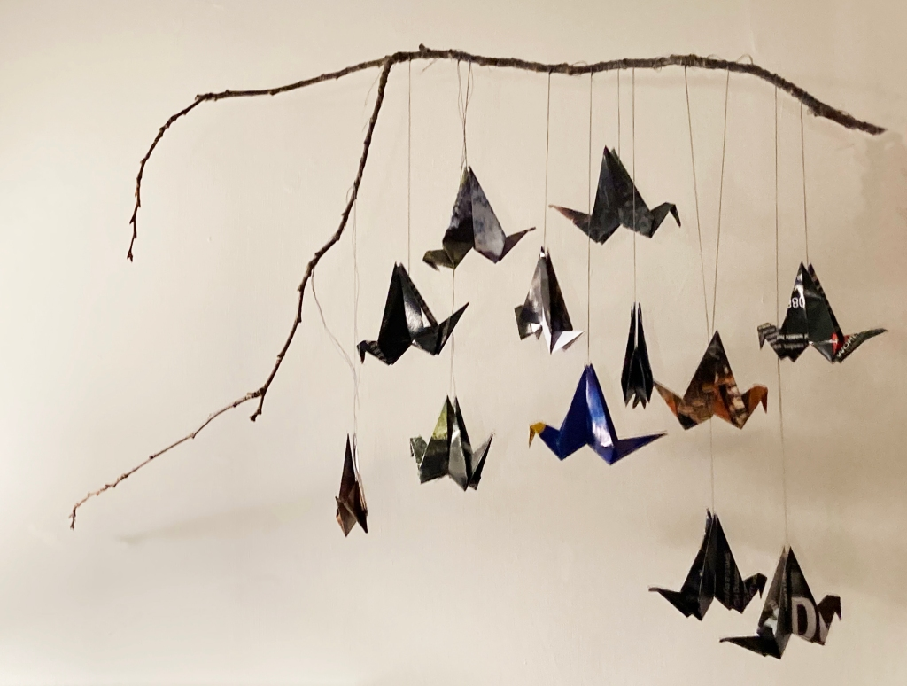 Origami starling decoration