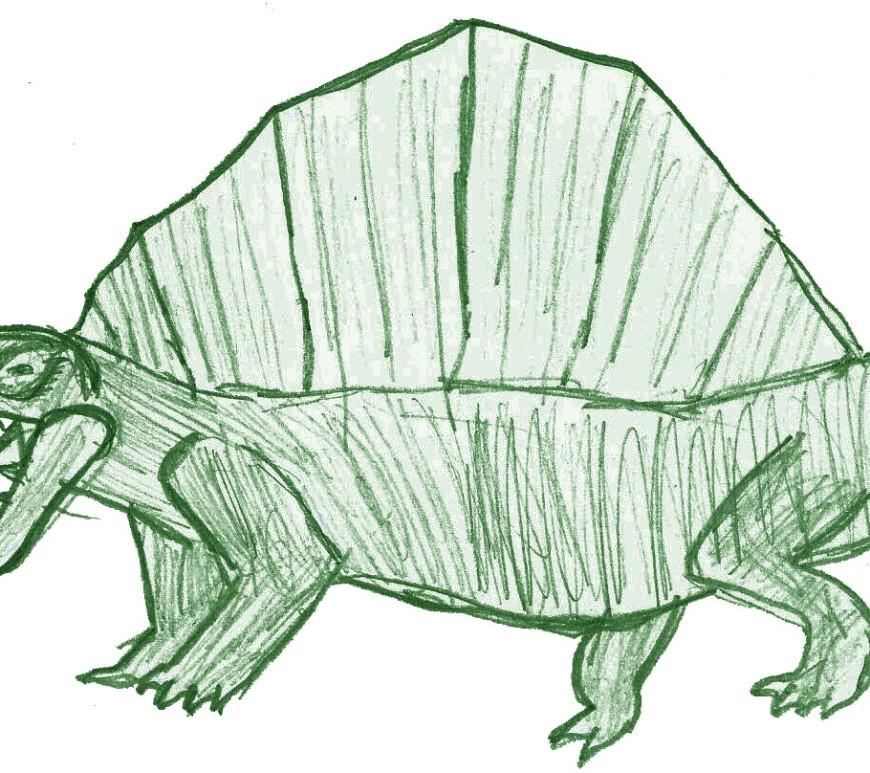 Dimetrodon illustration by Alastair age 7 3/4