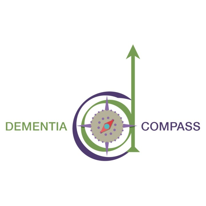 Dementia Compass logo - depicting a compass centred within a 'c' and 'd'