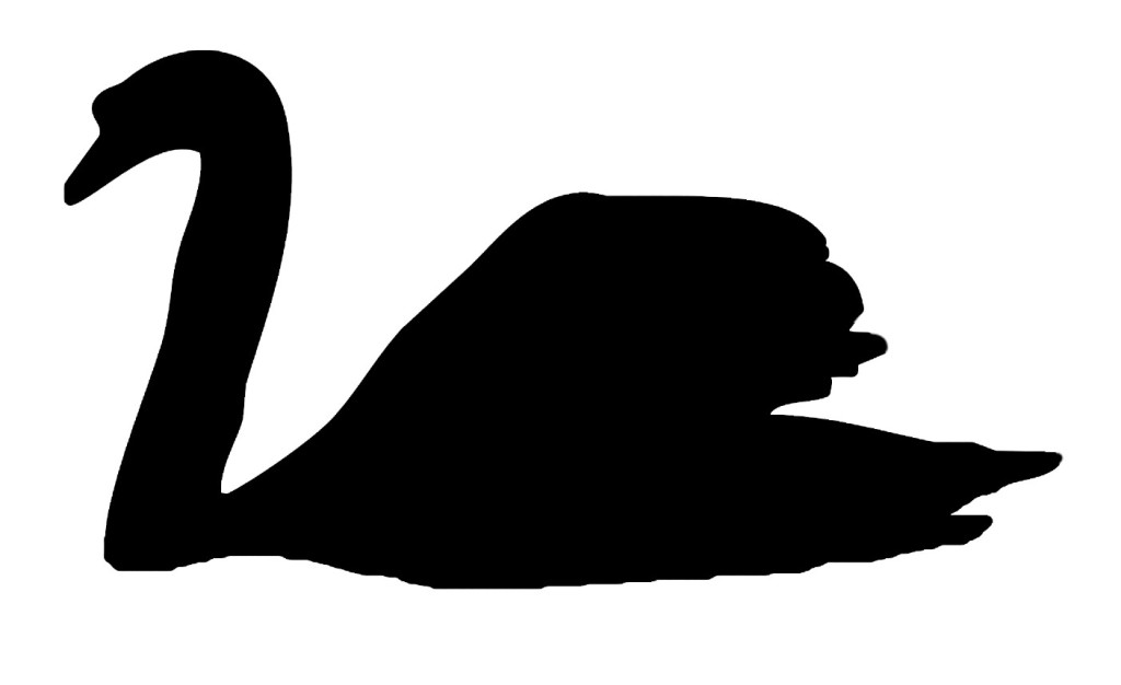 Mute swan silhouette template for art activity