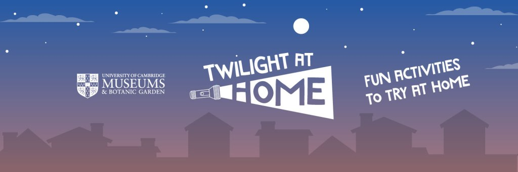 'Twilight at home' on a background of house silhouettes. Colours fade from purple at the bottom to blue at the top and include a white moon, stars and faded white clouds