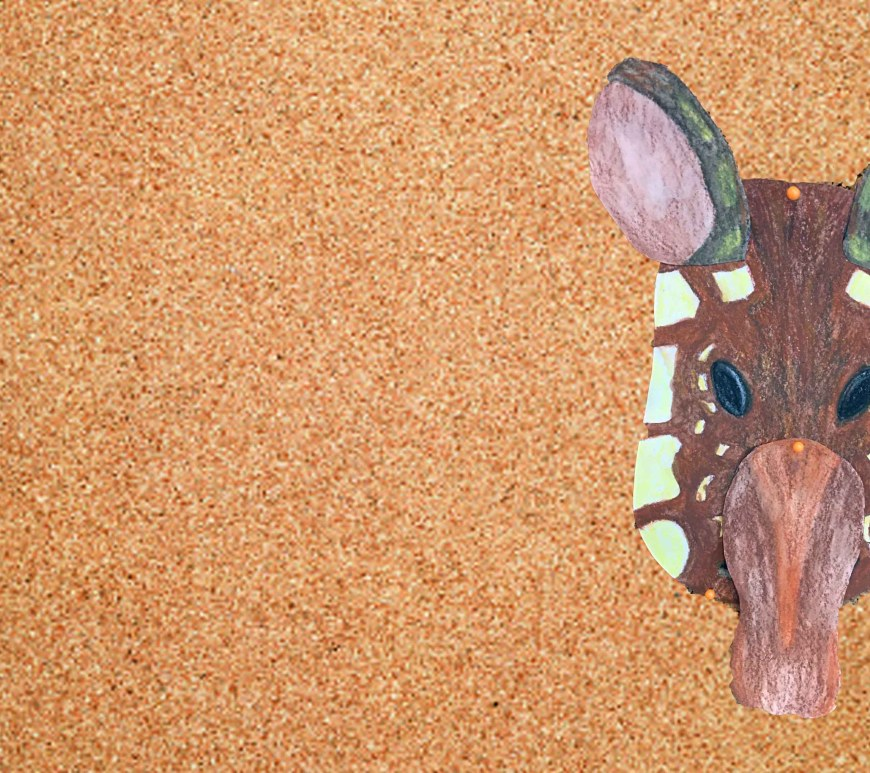 Complete tapir craft on cork board background