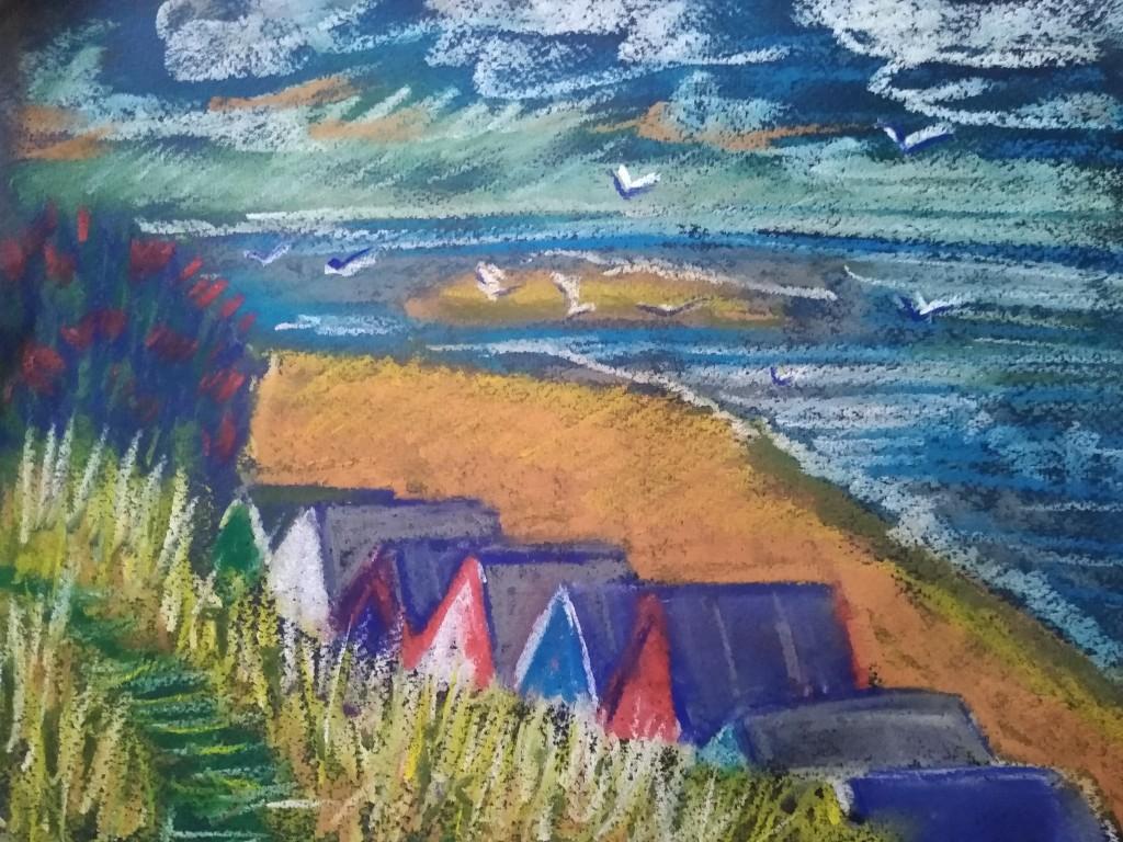 Pastel sketch of a seashore landscape